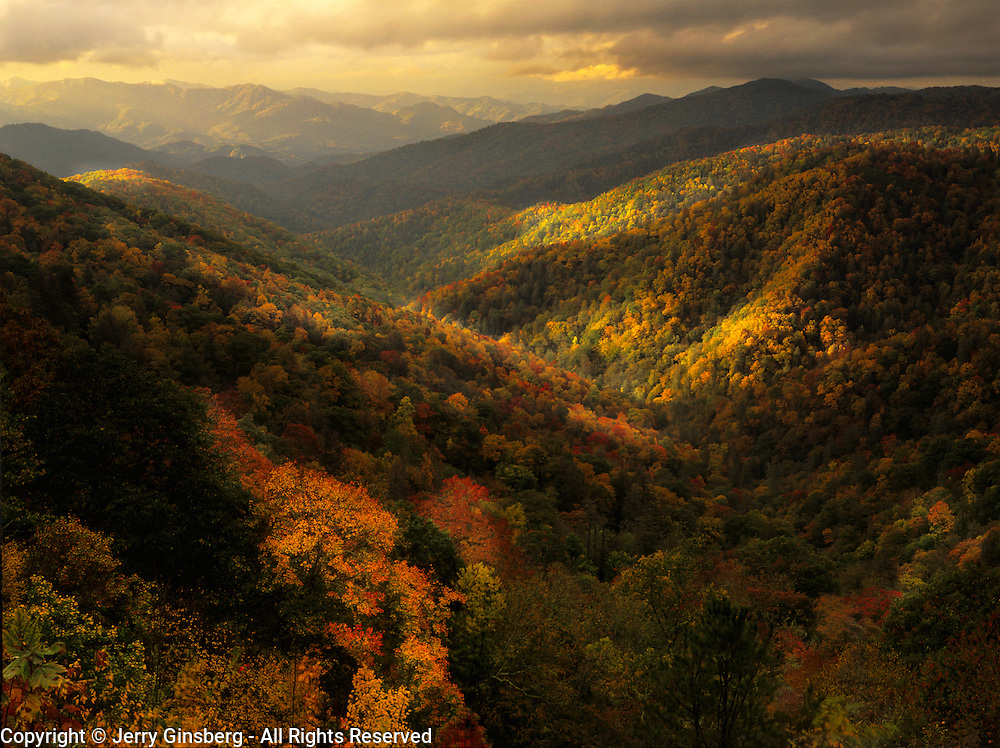 Brilliant autumn colors paint the hills in Great Smoky Mountains National Park, NC.