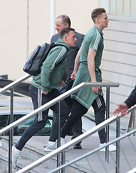 The Manchester United team arrive at The Lowry Hotel on Saturday evening to prepare for their home game against West Brom on Sunday afternoon. Seen: Scott McTominay and Phil Jones.