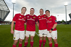 May 20, 2017 - Limerick, Irland - Tyler Bleyendaal, CJ Stander, Jean Deysel and Ian Keatley celebrate after the Guinness PRO12 Semi-Final match between Munster Rugby and Ospreys at Thomond Park Stadium in Limerick, Ireland on May 20, 2017  (Credit Image: © Andrew Surma/NurPhoto via ZUMA Press)