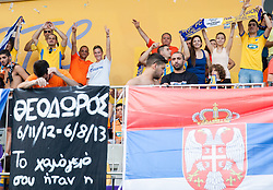 Supporters of Apoel during football match between NK Maribor and APOEL FC, (Cyprus) in Third qualifying round, Second leg of UEFA Champions League 2014, on August 6, 2013 in Stadium Ljudski vrt, Maribor, Slovenia. (Photo by Vid Ponikvar / Sportida.com)