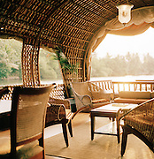 Interior of a houseboat, Kerala, India