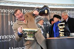 NICKY HENDERSON trainer of Bobs Worth winner of the Hennessy Gold Cup at the 2012 Hennessy Gold Cup at Newbury Racecourse, Berkshire on 1st December 2012