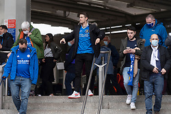 © Licensed to London News Pictures. 15/05/2021. London, UK. Chelsea football fans arrive at Wembley Stadium to attend the Emirates FA Cup Final between Chelsea football club and Leicester City football club. All attendees have to show evidence of a negative Covid-19 test to attend the event as part of the Events Research Programme (ERP) pilot scheme informing the government's decision on step 4 of its roadmap out of lockdown. Photo credit: Ray Tang/LNP
