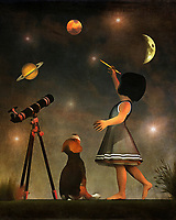 Once again, Amy has taken to the task of educating her beagle Buddy. This time, she has his undivided attention for learning about the stars and planets. Buddy watches intently, as an enthusiastic Amy shows Buddy the wonders of our solar system and beyond. The splashes of planets and stars gives this painting a distinct, otherworldly quality. It is one of the most unique, mesmerizing pieces in the Amy and Buddy collection. It is quite easy to get lost in something like this. The piece is available as wall-art, t-shirts, or through a variety of interior products. .<br />