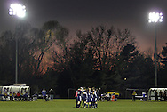Middletown, New York - Susquehanna Valley players huddle on the field before the start of the second half of a Class B state semifinal boys' soccer game against Ichabod Crane at Faller Field in Middletown on Saturday, Nov. 17, 2012.