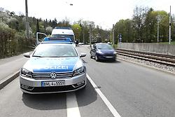 THEMENBILD - In Deutschland ist die Zuständigkeit für die Geschwindigkeitsüberwachung in den Bundesländern teilweise unterschiedlich geregelt. In den meisten Bundesländern sind die Polizei und regionale Ordnungsbehörden mit der Verkehrsüberwachung beauftragt. Während die Ordnungsämter der Kommunen innerhalb der geschlossenen Ortschaften zuständig sind, überwachen die Polizei und teilweise auch die Kreisverwaltungen den außerörtlichen Bereich auf den Kreis-, Landes- und Bundesstraßen sowie den Autobahnen. Hier im Bild Ein Polizeiwagen wartet neben der Fahrbahn auf Temposuender. Aufgenommen am 15. April 2015 in Stuttgart // In Germany, the responsibility for the speed control in the provinces is partly regulated differently. In most states, the police and local planning authorities are in charge of traffic control. While the regulatory agencies of the municipalities are responsible within the built-up areas, the police and sometimes the county governments monitor the non-urban area in the district, state and federal roads and highways. The picture shows a police car waiting beside the highway in Temposuender. Photo was taken on April 15, 2015 Stuttgart. EXPA Pictures © 2015, PhotoCredit: EXPA/ Eibner-Pressefoto/ Fudisch<br /> <br /> *****ATTENTION - OUT of GER*****