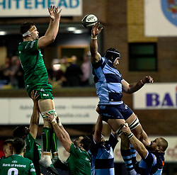 George Earle of Cardiff Blues spoils the Connacht line out ball<br /> <br /> Photographer Simon King/Replay Images<br /> <br /> Guinness PRO14 Round 14 - Cardiff Blues v Connacht - Saturday 26th January 2019 - Cardiff Arms Park - Cardiff<br /> <br /> World Copyright © Replay Images . All rights reserved. info@replayimages.co.uk - http://replayimages.co.uk