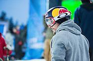 Simon Dumont during Ski Superpipe Practice during 2015 X Games Aspen at Buttermilk Mountain in Aspen, CO. ©Brett Wilhelm/ESPN