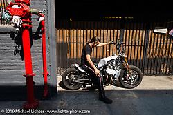 Lock Baker on his Red Asphalt 100ci liquid cooled V-4 Motus at his shop. Los Angeles, CA, USA. Thursday, June 21, 2018. Photography ©2018 Michael Lichter.