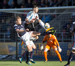 =Falkirk's Peter Grant and Hearts Callum Paterson.<br /> Half time ; Falkirk 0 v 1 Hearts, Scottish Championship game played 21/3/2015 at The Falkirk Stadium.