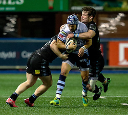 Matthew Morgan of Cardiff Blues is tackled by Peter Horne of Glasgow Warriors<br /> <br /> Photographer Simon King/Replay Images<br /> <br /> Guinness PRO14 Round 15 - Cardiff Blues v Glasgow Warriors - Saturday 16th February 2019 - Cardiff Arms Park - Cardiff<br /> <br /> World Copyright © Replay Images . All rights reserved. info@replayimages.co.uk - http://replayimages.co.uk