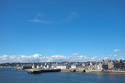 Broughty ferry harbour summer blue sky