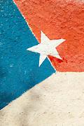 Close up of Cuban flag street art, Havana, Cuba