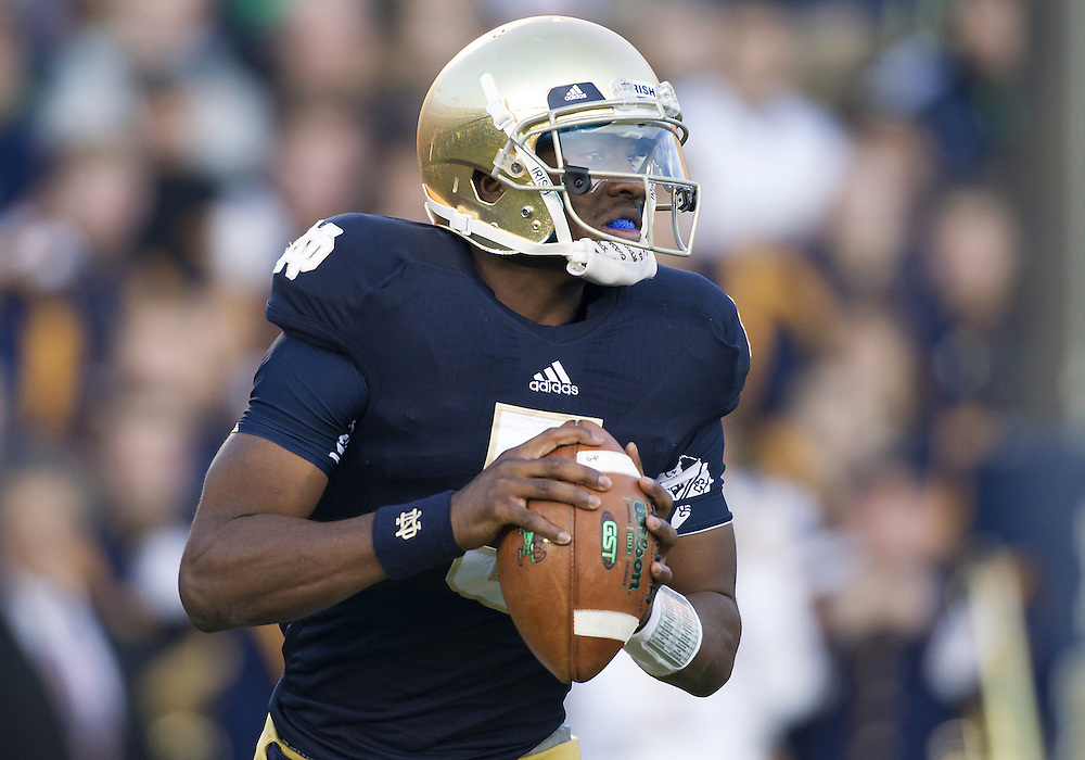 November 17, 2012:  Notre Dame quarterback Everett Golson (5) rolls out to pass the ball during NCAA Football game action between the Notre Dame Fighting Irish and the Wake Forest Demon Deacons at Notre Dame Stadium in South Bend, Indiana.  Notre Dame defeated Wake Forest 38-0.