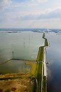 Nederland, Zeeland, Gemeente Reimerswaal, 01-04-2016; Markiezaatskade met Markiezaatsmeer (links) en Schelde-Rijnverbinding (rechts). Kreekraksluizen in de achtergrond. De Markiezaatskade is oorspronkelijk aangelegd als hulpdam voor de bouw van de Oesterdam. Speelt belangrijke rol in de zoetwaterhuishouding.<br /> <br /> Markiezaatskade, division between salt and sweet water, part of the Delta Works.<br /> <br /> luchtfoto (toeslag op standard tarieven);<br /> aerial photo (additional fee required);<br /> copyright foto/photo Siebe Swart