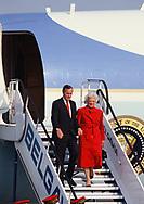 Brussels, Belgium 1989/05/29 President H W Bush and First Lady Barbara Bush arrive in Brussels. Belgium<br />Photo by Dennis Brack