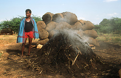 Man with smouldering fire making charcoal,