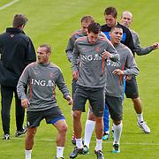 NLD/Katwijk/20110808 - Training Nederlands Elftal voor duel Engeland - Nederland, Wesley Sneijder en Kevin Strootman