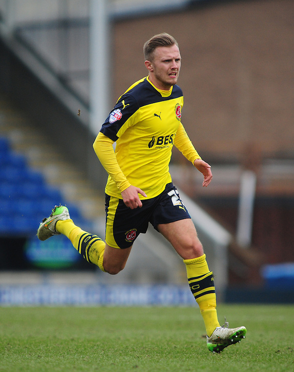 Fleetwood Town's David Ball in action during todays match  <br /> <br /> Photographer Chris Vaughan/CameraSport<br /> <br /> Football - The Football League Sky Bet League One - Chesterfield v Fleetwood Town - Saturday 28th February 2015 - Proact Stadium - Chesterfield<br /> <br /> © CameraSport - 43 Linden Ave. Countesthorpe. Leicester. England. LE8 5PG - Tel: +44 (0) 116 277 4147 - admin@camerasport.com - www.camerasport.com