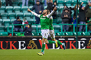 Christian Doidge (#9) of Hibernian FC scores his third goal and runs away to celebrate during the William Hill Scottish Cup fourth round match between Hibernian FC and Dundee United FC at Easter Road Stadium, Edinburgh, Scotland on 28 January 2020.