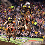 Justin Starling, Honda, in action during the 250SX Class Championship during round 16 of the Monster Energy AMA Supercross series held at MetLife Stadium. 62,217 fans attended the event held for the first time at MetLife Stadium, New Jersey, USA. 26th April 2014. Photo Tim Clayton