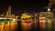 Business district and Marina Bay at night, Singapore, Republic of Singapore
