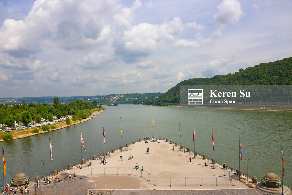 Deutsches Eck in Koblenz situated at the junction of Rivers Rhine and Moselle, Germany
