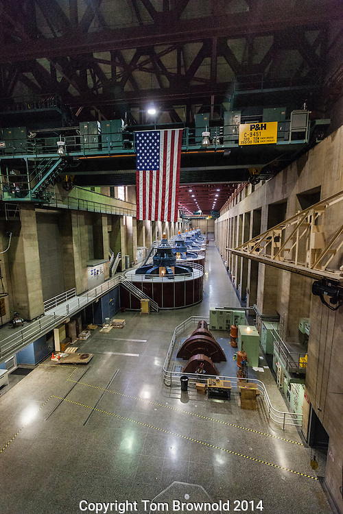 Inside the Boulder Dam (Hoover Dam) generating station, overlooking the turbines