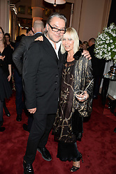 DAVID DOWNTON and VIRGINIA BATES at a private view of fashion art by David Downton as in-house artist at Caridge's , held at Claridge's Hotel, London on 13th September 2013.