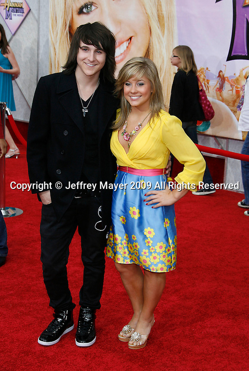 """HOLLYWOOD, CA. - April 02: Mitchell Musso and Shawn Johnson arrive at the premiere of Walt Disney Picture's """"Hannah Montana: The Movie"""" held at the El Captian Theatre on April 2, 2009 in Hollywood, California."""