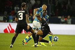 PSG's Neymar battling Napoli's Marek Hamsik during the Group stage of the Champion's League, Paris-St-Germain vs Napoli in Parc des Princes, Paris, France, on October 24th, 2018. PSG and Napoli drew 2-2. Photo by Henri Szwarc/ABACAPRESS.COM