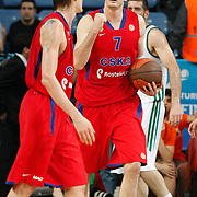 CSKA Moscow's Darjus Lavrinovic celebrate victory (R) during their Euroleague Final Four semi final Game 1 basketball match CSKA Moscow's between Panathinaikos at the Sinan Erdem Arena in Istanbul at Turkey on Friday, May, 11, 2012. Photo by TURKPIX