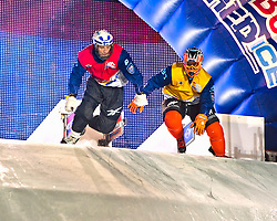 04-02-2012 SKATING: RED BULL CRASHED ICE WORLD CHAMPIONSHIP: VALKENBURG<br /> (L-R) Paavo Klintrup FIN, Glenn Bakx NED<br /> ©2012-FotoHoogendoorn.nl / Peter Schalk