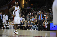 LeBron James of Cleveland..The Miami Heat lost to the host Cleveland Cavaliers 84-76 at Quicken Loans Arena, April 13, 2008..Cleveland Cavaliers head coach Mike Brown looks at LeBron James during a foul shot.