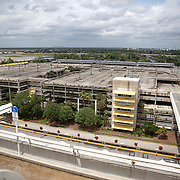 The parking garage at Orlando International Airport remains functional but mostly empty to air passengers on Friday, April 17, 2020 in Orlando, Florida. (Alex Menendez via AP)