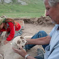 MONGOLIA. Smithsonian archaeologist & forensics specialist, Dr. Bruno Frohlich, unearths bronze-age skeleton at site above Delger River near Muren.  Skull may be 3700+ years old.  <br /> <br /> #MS0702_060629_0220.NEF