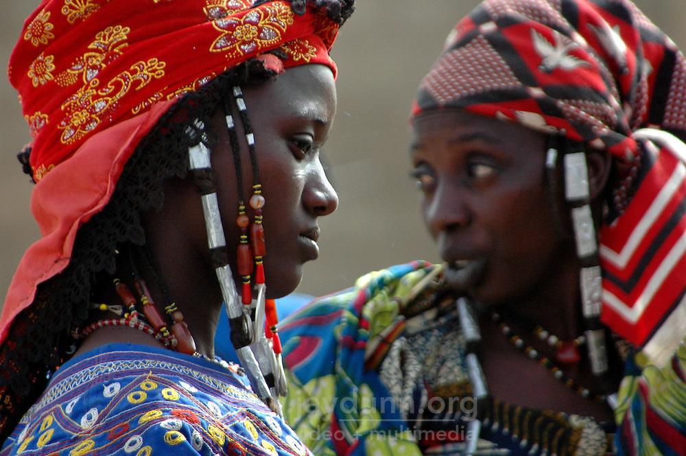 BURKINA FASO, Gorom-Gorom, 2007. Fulani women arrive early at Gorom-Gorom's Thursday market, which serves the whole region