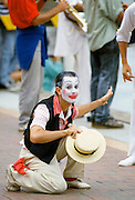 Mime artist performing in costume for celebrations in Sydney for Australia's Bicentenary,1988