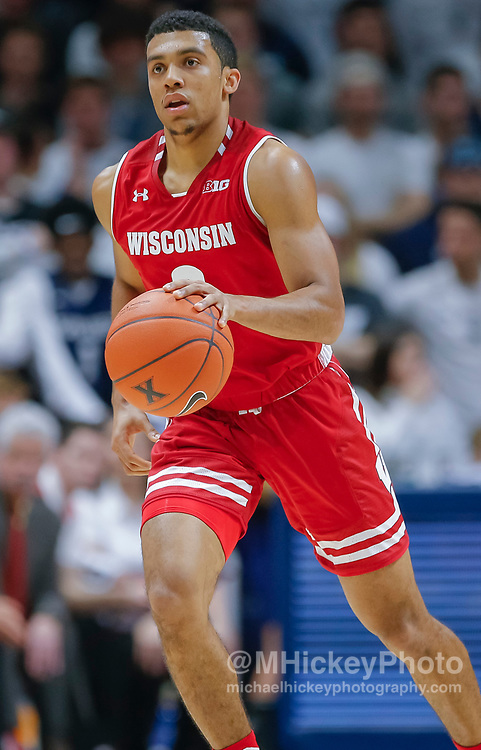CINCINNATI, OH - NOVEMBER 13: D'Mitrik Trice #0 of the Wisconsin Badgers brings the ball up court during the game against the Xavier Musketeers at Cintas Center on November 13, 2018 in Cincinnati, Ohio. (Photo by Michael Hickey/Getty Images) *** Local Caption *** D'Mitrik Trice