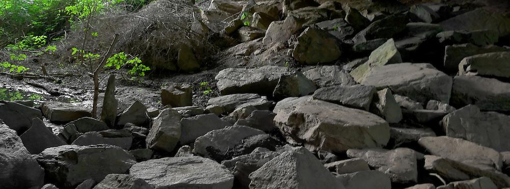 Rocks under the Chattahoochee River Roswell Road bridge