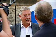 Sammy Wilson MP, Democratic Unionist Party, being interviewed on College Green following the announcment that Boris Johnson is the new Conservative leader and Prime Minister, on July 23, 2019 in London, England.