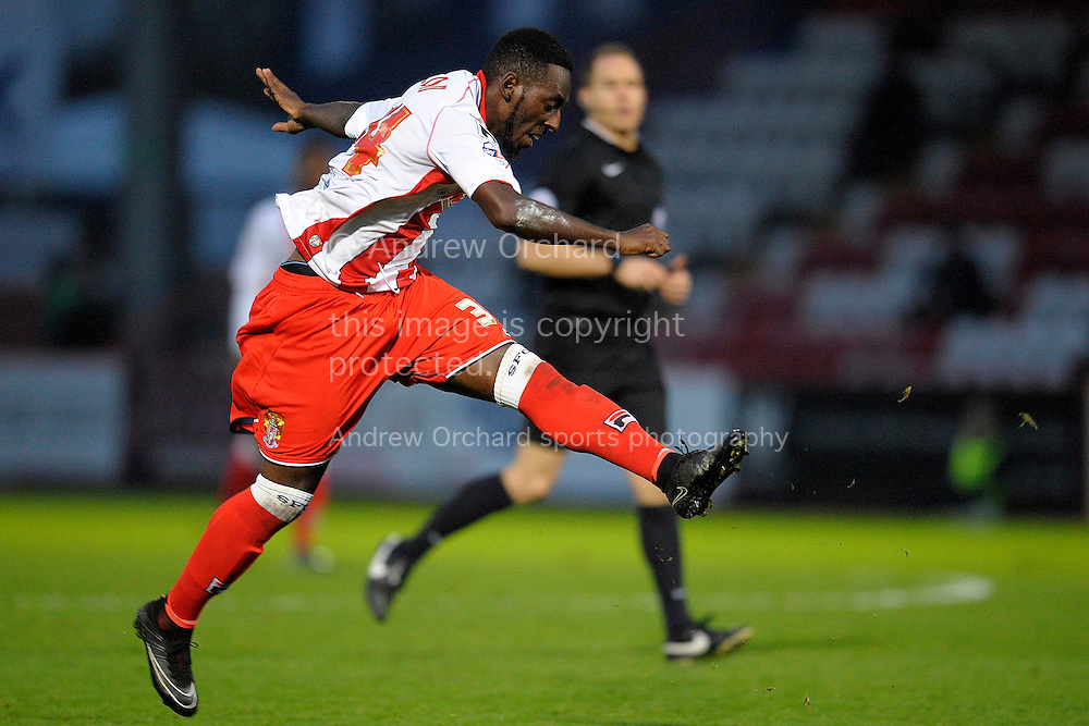 Roarie Deacon of Stevenage taking a shot. Skybet football league two match, Stevenage FC v Cheltenham Town at the Lamex Stadium in Stevenage, Herts on Saturday 15th November 2014.<br /> pic by John Patrick Fletcher, Andrew Orchard sports photography.