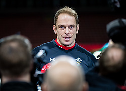 Alun Wyn Jones of Wales talking to the media<br /> <br /> Photographer Simon King/Replay Images<br /> <br /> Six Nations Round 5 - Wales v Ireland Captains Run - Saturday 15th March 2019 - Principality Stadium - Cardiff<br /> <br /> World Copyright © Replay Images . All rights reserved. info@replayimages.co.uk - http://replayimages.co.uk