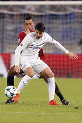 October 31, 2017 - Rome, Italy - Rome, Italy - 31/10/2017..Alvaro Morata (R) of Chelsea in duel against Juan Jesus of Roma during the UEFA Champions League Group C soccer match in Rome..UEFA Champions League Group C soccer match between AS Roma and Chelsea FC at the Olympic stadium in Rome. AS Roma defeating Chelsea FC 3-0. (Credit Image: © Giampiero Sposito/Pacific Press via ZUMA Wire)