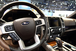 12 February 2015: . Ford F150 King Ranch pick up truck interior.<br /> <br /> First staged in 1901, the Chicago Auto Show is the largest auto show in North America and has been held more times than any other auto exposition on the continent. The 2015 show marks the 107th edition of the Chicago Auto Show. It has been  presented by the Chicago Automobile Trade Association (CATA) since 1935.  It is held at McCormick Place, Chicago Illinois