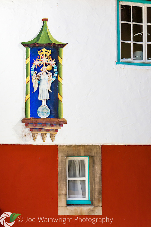 Detail of the side of Angel Cottage, Portmeirion, Gwynedd.  It was built in 1926.