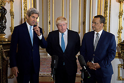 (Left-right) US Secretary of State John Kerry, Foreign Secretary Boris Johnson and UN Special Envoy for Yemen Ismail Ould Cheikh Ahmed make a joint statement following a meeting to discuss the situation in Syria, at Lancaster House in London.