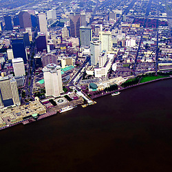 Aerial view of WATERFRONT, FRENCH QUARTER, New Orleans Louisiana,towards the Superdome before Hurricane Katrina