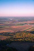 Sunrise aerial image over Sauk County, Wisconsin on a beautiful morning.
