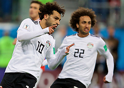 SAINT PETERSBURG, RUSSIA - Tuesday, June 19, 2018: Egypt's Mohamed Salah celebrates after scoring his side's only goal from a penalty kick during the FIFA World Cup Russia 2018 Group A match between Russia and Egypt at the Saint Petersburg Stadium. Egypt lost 3-1. (Pic by David Rawcliffe/Propaganda)